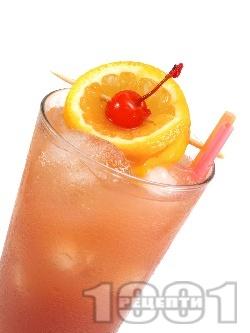 Коктейл секс на плажа (Sex On The Beach) с водка, ликьор праскова, сок от портокал и боровинки - снимка на рецептата